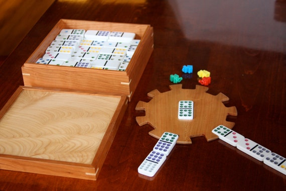 Mexican Train Domino Set in a Hand Made Figured Maple and Cherry Box - Free Shipping to USA