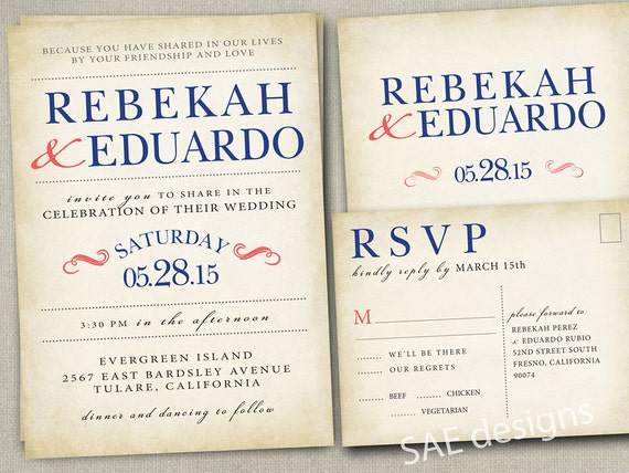 Wedding Invitations With Rsvp Postcards: Wedding Invitation Invitations Invite Invites By