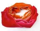 """Orange and red velvet scarf, ombre velvet scarf 11cm (4.5"""") x 190cm (75"""") Made to order"""