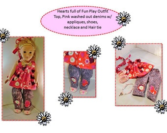 American Girl Doll Valentine Outfit pants top shoes and hairbows just in time to share valentines