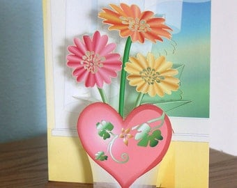 Popup Flowers card in Heart Vase 3D Gerber daisies Valentines Day Card