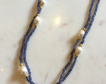 Iolite and pearl 90 inch long necklace