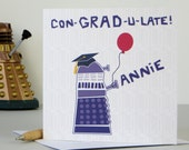Dalek Graduation Card - Personalised - Doctor Who - Any Colour - university card - grad card - graduation congrats - dalek card - dr who
