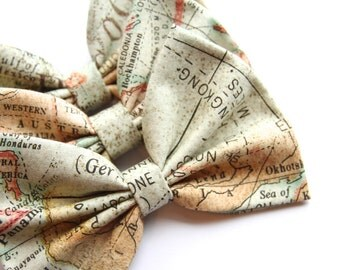 World Map Style Bow - Map Pattern Hair Bow with Clip LIMITED EDITION