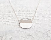 Cat Necklace, Gray Pendant Cute Kids Jewelry Wooden Pendant Best Gift Ideas Gifts for Her Many color variations