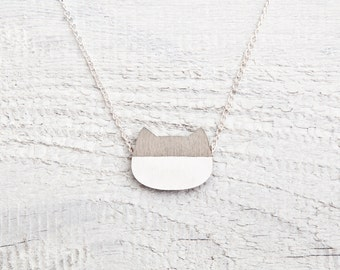 Inspiration Cat Necklace, Gray Pendant, Cat Ears Necklace, Cute Gray Jewelry, Wooden Pendant, Girlfriend Gift, Minimalist Necklace