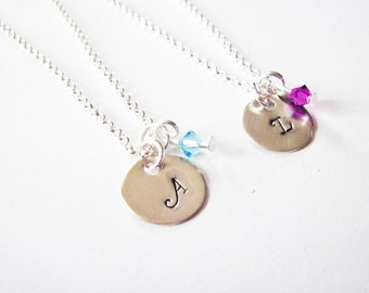 2 best friends necklaces, birthstone necklace, set of two, initial necklace, matching necklaces for couples, personalized jewelry, sisters