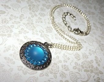 Frosted Aqua Dome Mosaic Necklace