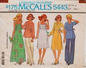 """Vintage 1970s Tuck Front Top And Dress In Two Lengths, McCalls 5443 Carefree Pattern, Size 8, Bust 31 1/2"""" (80cm), Free US Shipping"""