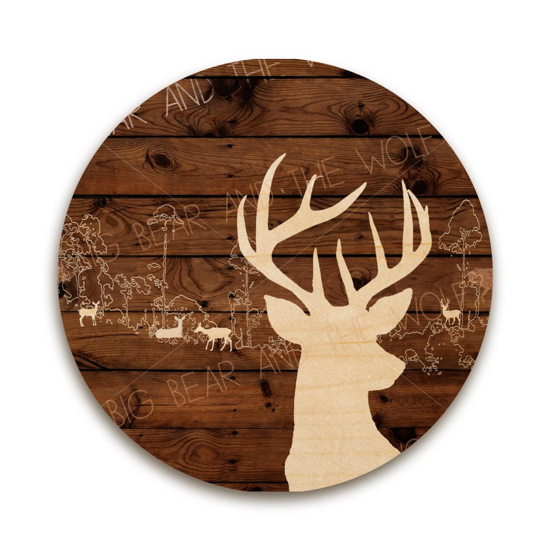 Circle wall art on wood deer silhouette by bigbearandthewolf