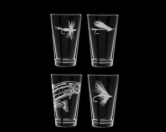 Fly Fishing Pints Set of 4 Personalized pint glasses fisherman
