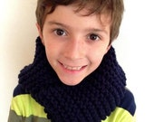 Hand Knit Chunky Infinity Scarf for kids Navy Blue