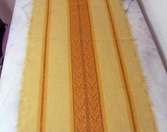 Vintage Table Runner, Yellow Orange Retro Tablerunner, Woven 1970s Table Decoration, Table Runner Mid Century Modern Design, Table Decor