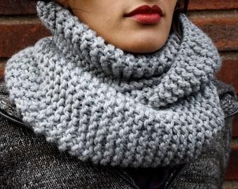 Light Grey Handknit chunky Infinity scarf