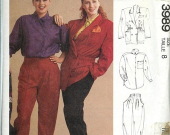 McCall's 3989 French Connection Misses Jacket, Shirt and Pants Pattern, Sizes 8 & 14 UNCUT