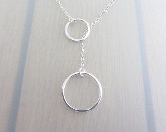 Sterling Silver Circle Necklace, Two Circle Lariat Necklace, Infinity Ring Y Necklace, Eternity Circle Necklace, 14-20mm Infinity Necklace