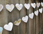 3 x 10ft Vintage Heart Map Garland, Map Decoration, Wedding Decoration, Bridal Shower, Heart Garland, Photo Prop,Travel Decor,Party Garland