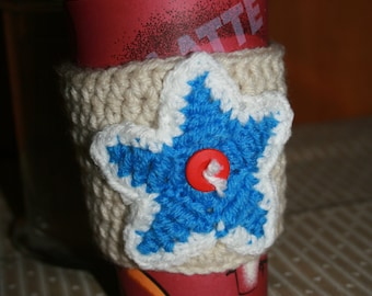 Red, White & Blue Star-- Coffee Cup Cozy, 100% Acrylic, Travel Sleeve, Java Jacket, Latte or Mocha, Fits 12, 16 or 20 oz cups.