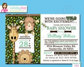 Jungle Baby Shower Invites for Safari Baby Shower (113) -  12 Printed Invitations with Envelopes