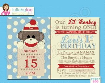 Blue Sock Monkey Birthday Invitations - Printed Invitations - Custom Invitations