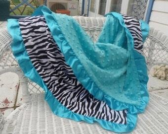 Zebra Minky and Blue Dot Minky Baby Blanket -Blue Satain Ruffle- Baby Pram/Buggy Blanket