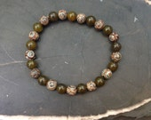 Mens Mala Bracelet Tibetan Agate and Dragon Vein Agate