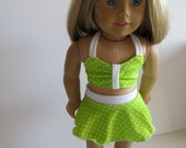"American Girl Doll Clothes; Doll 2 Piece Bikini Swim Suit; 18"" Doll Swimsuit; Lime Green Swimsuit; Doll Lime/white Pin Dots Swim"