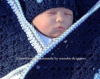 blue gray and white baby blanket travel stroller car seat blanket afghan MADE TO ORDER