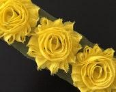Shabby Flowers - YELLOW Shabby Rose Trim - Shabby Chic - Shabby Flower Trim - DIY Flowers