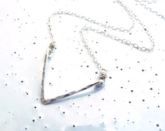 Sterling Silver Small Textured Chevron Necklace
