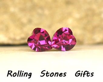 6.6mm Fuchsia Swarovski Heart Rhinestone Stud Earrings- Crystal Heart Studs-Fuchsia Crystal Heart Studs-Heart Earrings