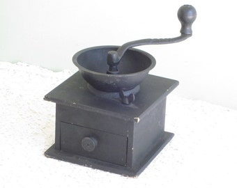 Antique Dark Gray Wood COFFEE GRINDER
