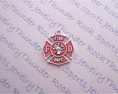 Antique Silver Plated Firefighter Red Maltese Cross Charms Hero Occupation Pendants