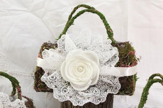 Flower Girl Basket Moss : Woodland white moss flower girl basket rustic wedding