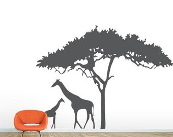 African Safari Decal Etsy - Wall decals animalsafrican savannah wall sticker decoration great trees with