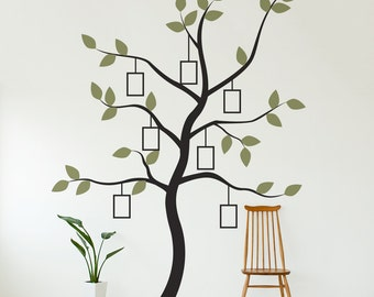 Family Tree with Frames Vinyl Wall Decal - Tree Wall Sticker, Nature Wall Decal, Living Room Art, Family Photo Art, Family Tree Art