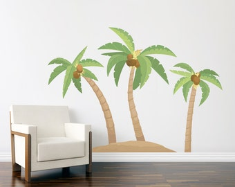 Palm Tree Island Printed Wall Decal - Tropical Wall Art, Palm Tree Decal, Hawaiian Decal, Palm Tree Wall Art, Nature Wall Decal