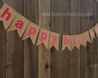 Happy Birthday Burlap Banner // Pink or Aqua Ombre