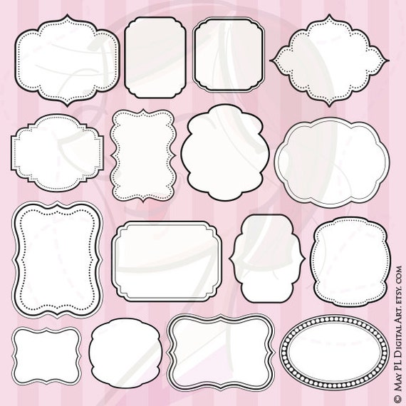 Digital Frame Clipart COMMERCIAL USE Scrapbook VECTOR Frames Images Craft Card Making Page Decoration White Middle Popular Items 10063