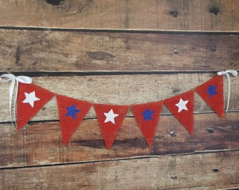 4th of July burlap banner - Memorial day -Shabby Chic - Patriotic banner with stars  - 4th of July - Photography prop