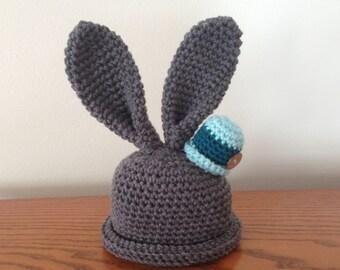 Crochet Baby Hat Bunny, Crochet Newborn Hat, Crochet Bunny Hat, Easter Hat, Accessories, Photo Prop Easter Hat