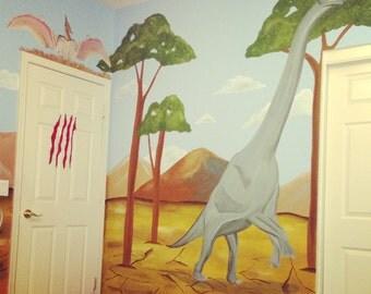 Dinosaur Wall Mural, Dinosaur Mural, Murals for Kids, Dinosaur Painting on Canvas, Dinosaur Painting, Dinosaur Room Decor, Boys Room Decor