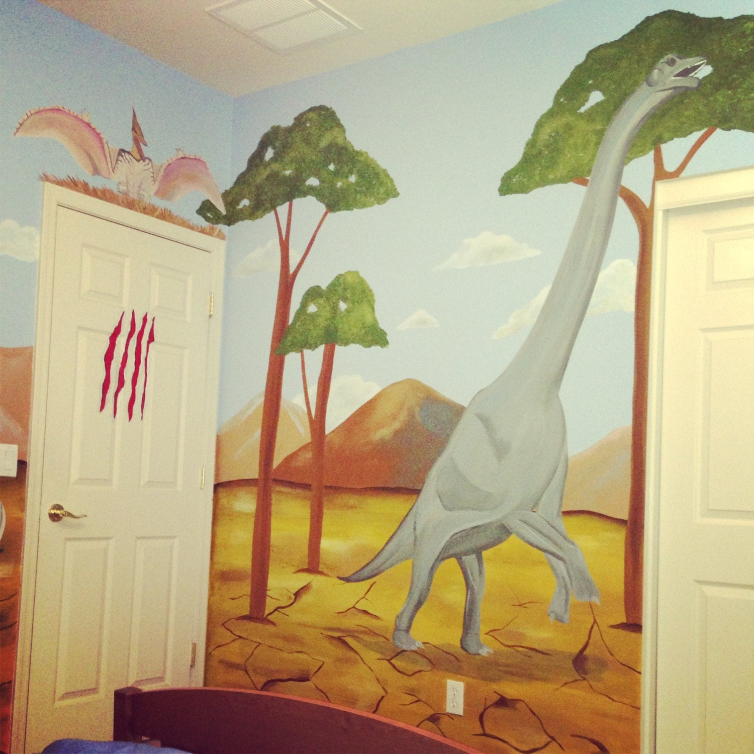 Dinosaur wall mural dinosaur mural murals for kids dinosaur for Dinosaur mural ideas