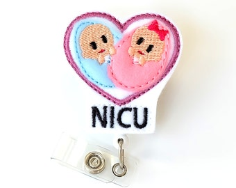 Twin Baby - NICU Badge Reel - NICU Nurse Gifts - NICU Staff Name Badge Holders - Felt Badge Clips - Neonatal Nurse Badge Pulls - BadgeBlooms