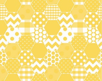 Hexi Yellow - 1 Yard Cut - Quilting Fabric - Cotton Fabric - Riley Blake Designs - Yellow Fabric