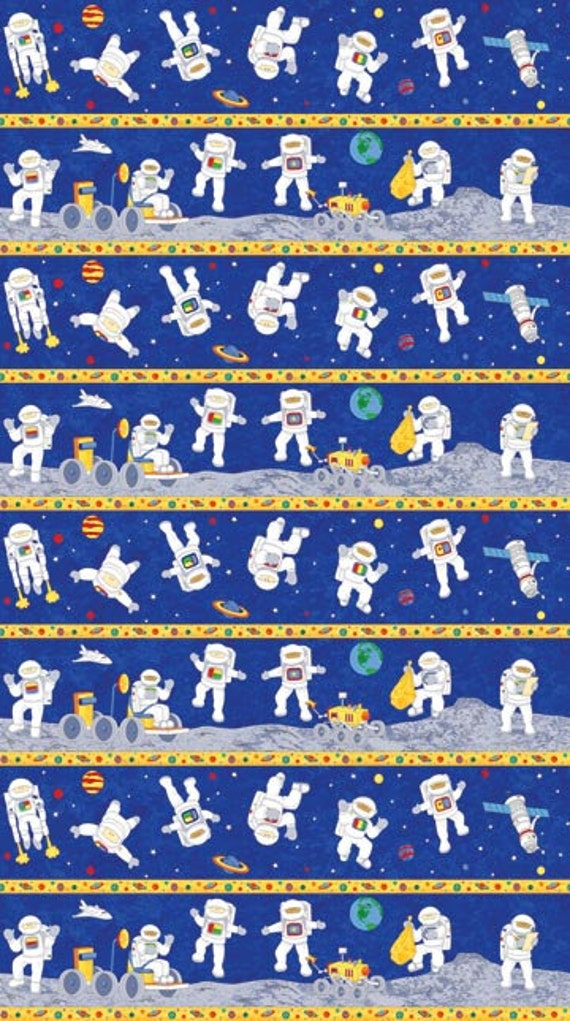 Blast off stipe 1 yard cut northcott fabric cotton for Space fabric quilt