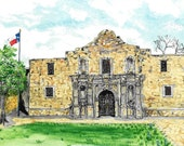 The Alamo, San Antonio, Texas, Watercolor Painting, Fine Art Print, Spanish-American War Mission, Mexico History