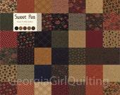 "SWEET PEA Mini Charm Pack Moda Fabrics 42 - 2.5"" Fabric Quilt Squares Kit"