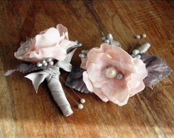 Pink Boutonniere, Blush Pink Boutonniere, Flower Boutonniere, Grey Wedding Boutonniere, Bridal Boutonniere, Buttonhole