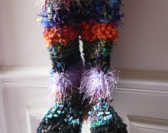 Handmade crochet Christmas medieval fairy socks boots slippers psychedelic multicolored warm wearable art flexible materials OOAK